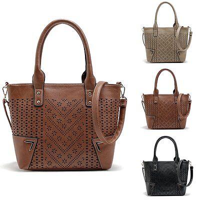 Women Leather Handbag Shoulder Cross Body Bag Large Tote Messenger Satchel Purse