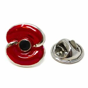 Details about Remembrance Day Poppy Lest we forget Flower Enamel Lapel Pin  Military Gift Idea