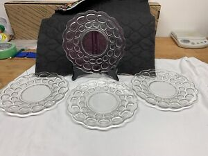 """Vtg. 4 Federal Glass Clear Yorktown Luncheon Salad Plates Thumbprint Colonial 8"""""""