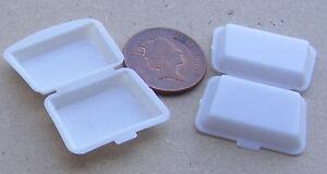 Adaptable Échelle 1:12 2 Petit Plastique Take Away Boîtes Maison De Poupées Miniature Food Accessoire-afficher Le Titre D'origine Les Commandes Sont Les Bienvenues.