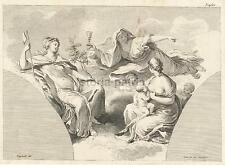ARTE ANTICA_BELLA INCISIONE ALLEGORICA_SOLIMENA_NAPOLI_GUTTENBERG_FRAGONARD_'700