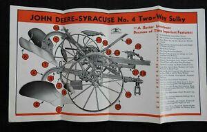 1937 JOHN DEERE SYRACUSE No. 4 TWO-WAY SULKY PLOW AUTO-POLE-SHIFT BROCHURE NM