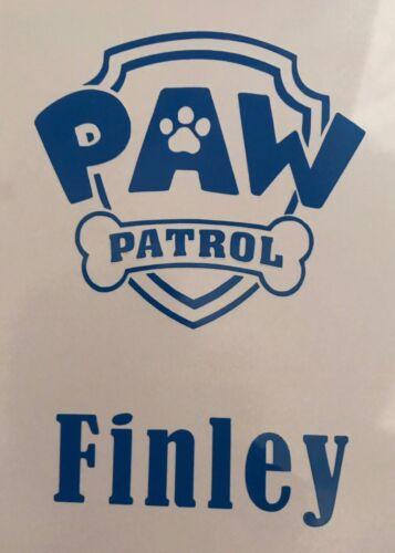 Paw Patrol Personalised Vinyl Decal Sticker Mug//glass Lunch Box Bottle 3 Inch