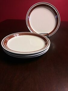 """Set of 4 Yamaka Contemporary Chateau Stoneware SIENNA BROWN Bread Plates 7 1/2"""""""