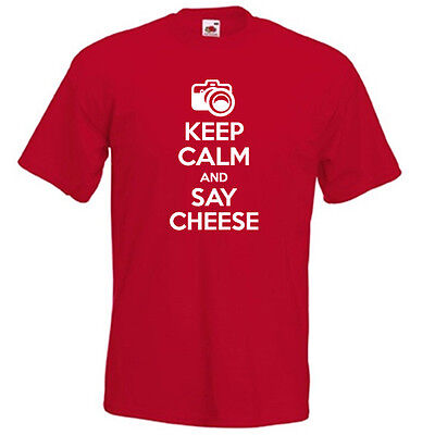 KEEP CALM and SAY CHEESE carry on funny photographer mens womens t-shirt gift