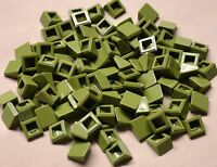 X100 Lego Slopes Green 1x1 2/3 Tank Roof Top Army House Building Olive Green