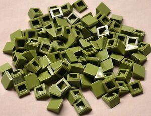 x100-NEW-Lego-Slopes-Green-1x1-2-3-Tank-Roof-Top-Army-House-Building-OLIVE-GREEN