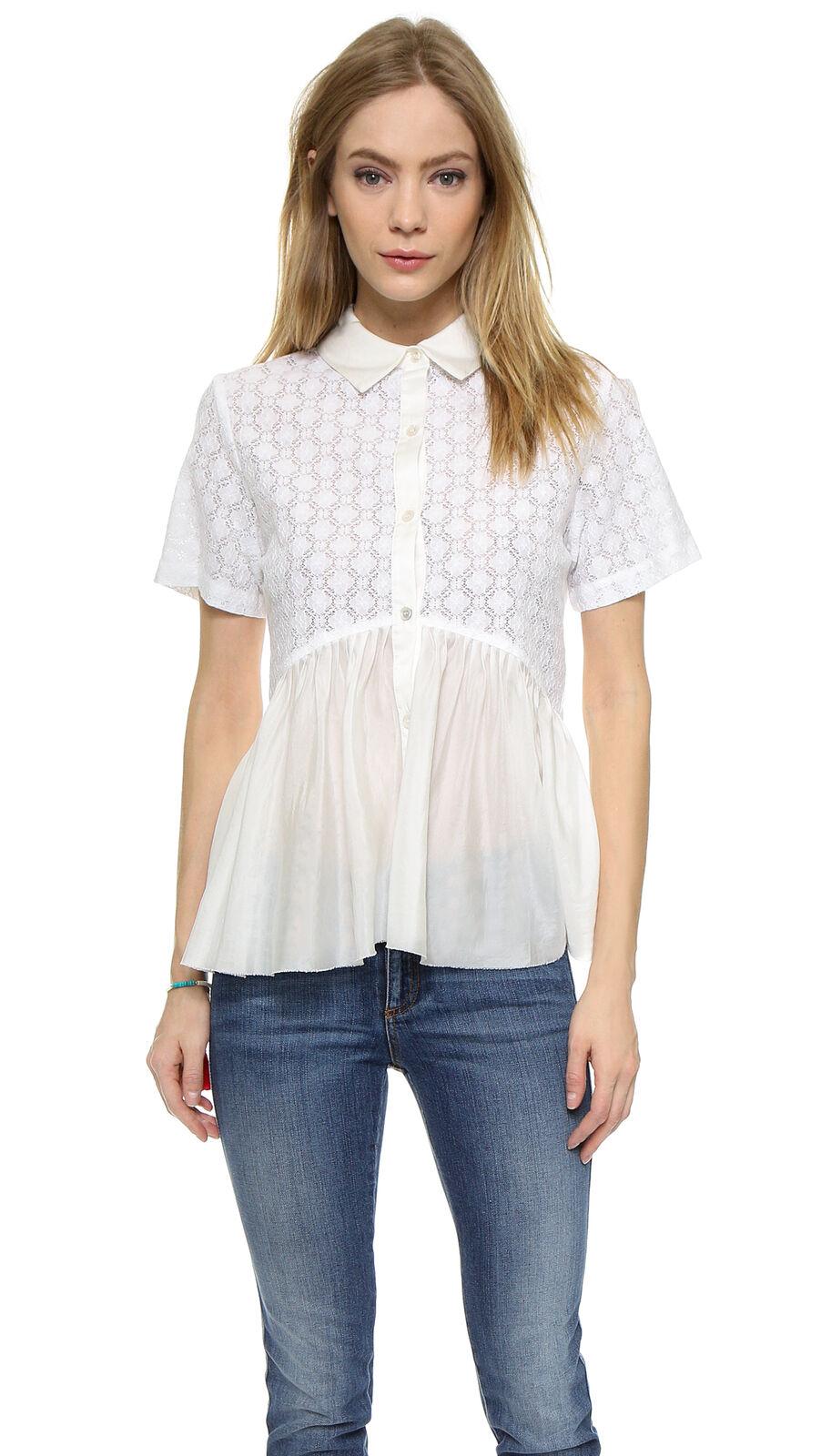 NWT Clu Weiß Lace Silk Pleated Hem Shirt Sz L, M