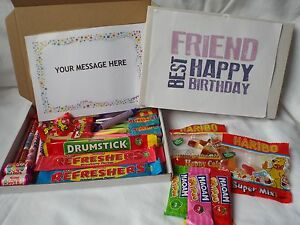 45 PIECE RETRO SWEETS GIFT BOX BEST FRIEND FREE PERSONALISED MESSAGE