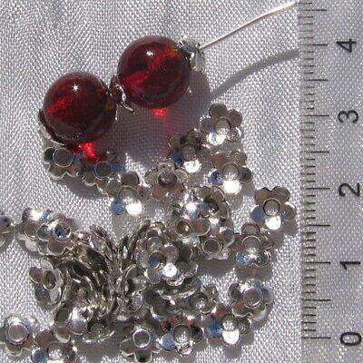 LOT DE 100 COUPELLES INTERCALAIRES 6MM FLEURS MÉTAL ARGENTÉ perles bijoux *S35