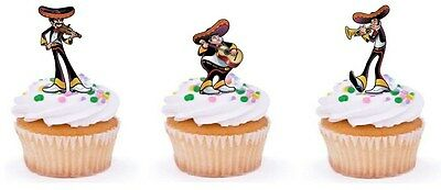 MEXICAN PARTY THEME  Edible cake party toppers x 24 STAND UPS