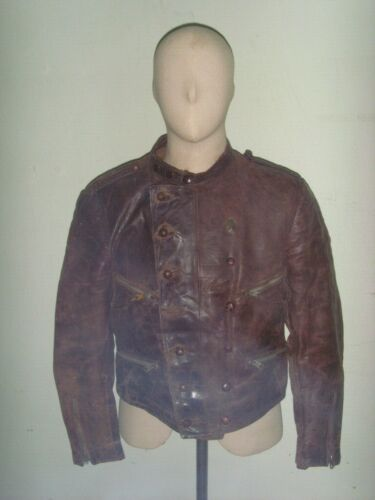 30's German Motorcycle/Flying leather Jacket Doubl
