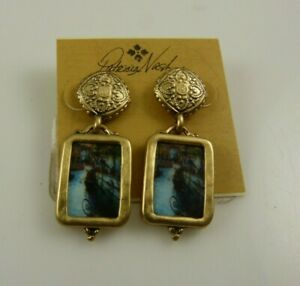 Patricia Nash gold tone earrings picture with brown jewelry bag