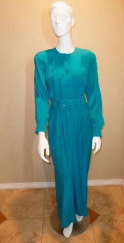 Vintage 1980's MAGGY LONDON Silk Teal Green Belted