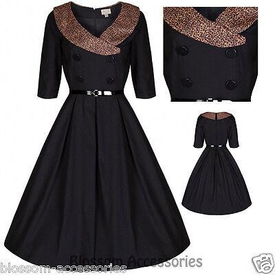 RKB12 Lindy Bop Black Winnie Leopard Rockabilly Vintage Swing Dress Plus Size