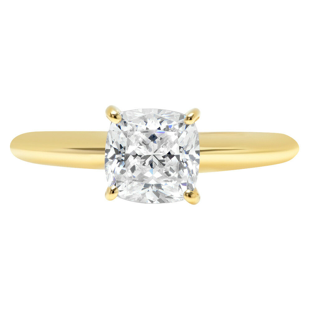 1.20 Ct Cushion Cut Solitaire Moissanite 14k Yellow Gold Wedding Ring Size M N J Other Fine Rings