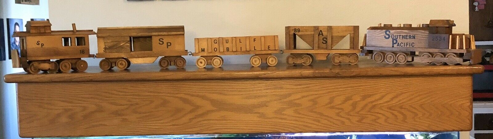 "Holzen Train Handmade - 5 Autos - each about 14"" L so total about 70""L Nursery"