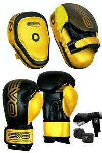 EVO MMA Guantoni Da Boxe Focus Pads Set Muay Thai Arti Marziali UFC Borsa Di Formazione Pro