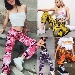 Image is loading Fashion-Women-Sports-Camo-Cargo-Pants-Outdoor-Casual- 36701680e2