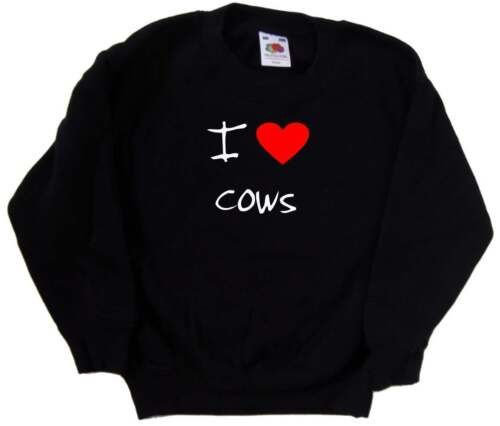 I Love Heart Cows Kids Sweatshirt