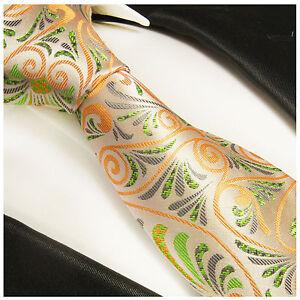 Genossenschaft Paul Malone Krawatte Orange Grün Floral Seide Krawatten & Fliegen Orange Seidenkrawatte 490 Herren-accessoires