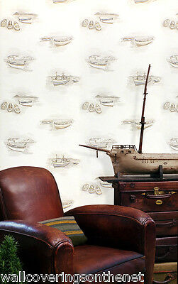Nautical / Boat Themed, Textured Solid Vinyl Wallpaper in Neutral Colours