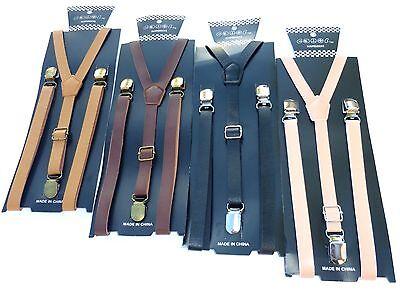 """NEW Punk Skinny Brown Leather Vintage Look SUSPENDERS SUPER NARROW 1//2 /"""""""