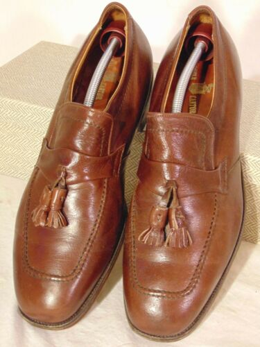 ALDEN NEW ENGLAND MENS SHOES BROWN SLIP ON LOAFERS