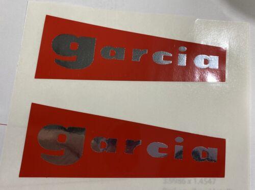 "2 ABU GARCIA AMBASSADEUR GARCIA 4"" WEDGE DECAL TACKLE BOX BAG TRUCK CAR STICKER"
