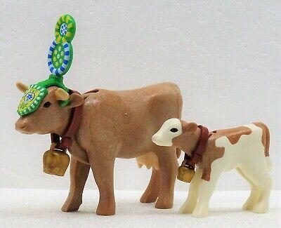 Playmobil Alm Bauernhof Kuh mit Kalb schwarz weiß unbespielt top