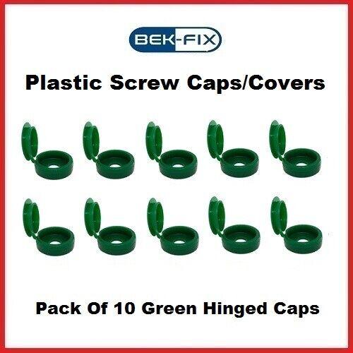 10x BEK-FIX Green Plastic Hinged Screw Caps Fold Over Screw Covers 6-8 Gauge