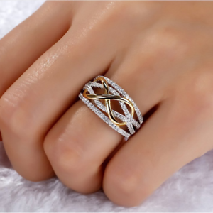Fashion-Women-Infinite-CZ-925-Silver-Gold-Two-Tone-Ring-Wedding-Party-Jewelry