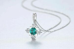 Silberkette-Anhaenger-925er-Sterling-Silber-Green-Saphir-VVS-Zirkonia-Rhodiniert