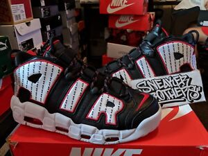 premium selection 36dd7 2c536 Image is loading Nike-Air-More-Uptempo-96-Pinstripe-Black-White-