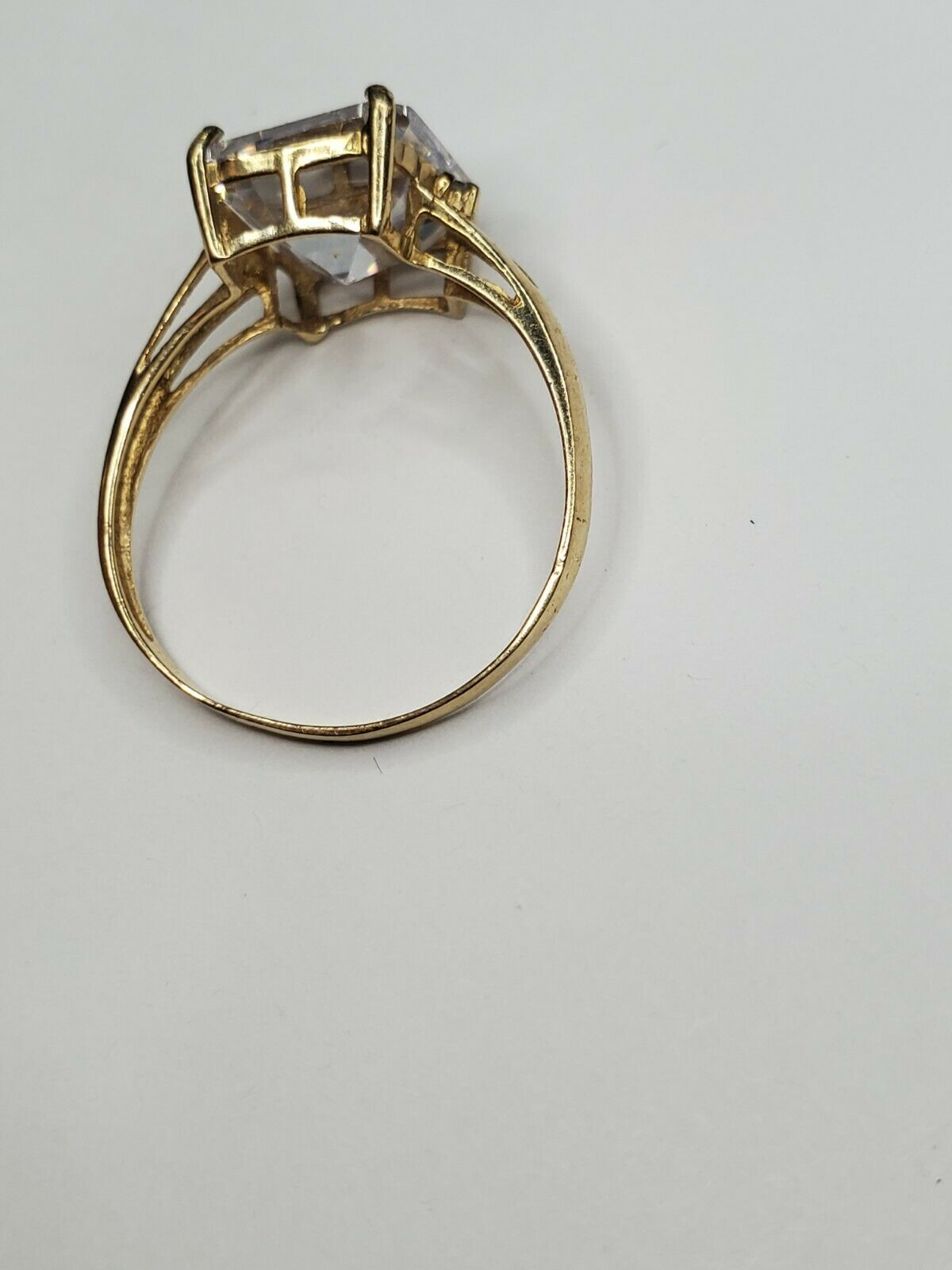 Solid 10k Gold Ring Solitaire Princess Cut  - image 3