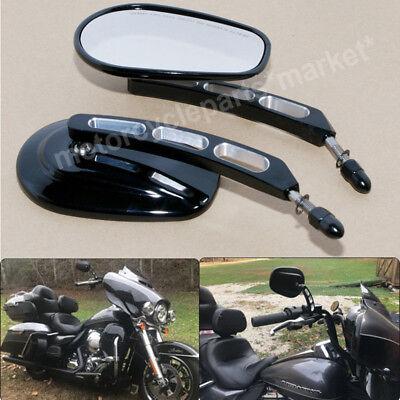 Black Edge Cut Mirrors Motorcycle Cruiser For Harley Davidson Street Road Glide