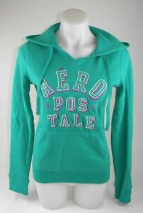 Aeropostale-Green-Hoodie-with-Sparkle-Letters-Women-039-s-Size-Medium-Cotton-Blend-G