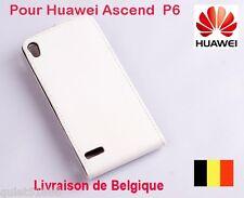 Top Qualite Flip Cuir  COQUE HOUSSE ETUI  POUR GSM  Huawei Ascend P6  Blanc