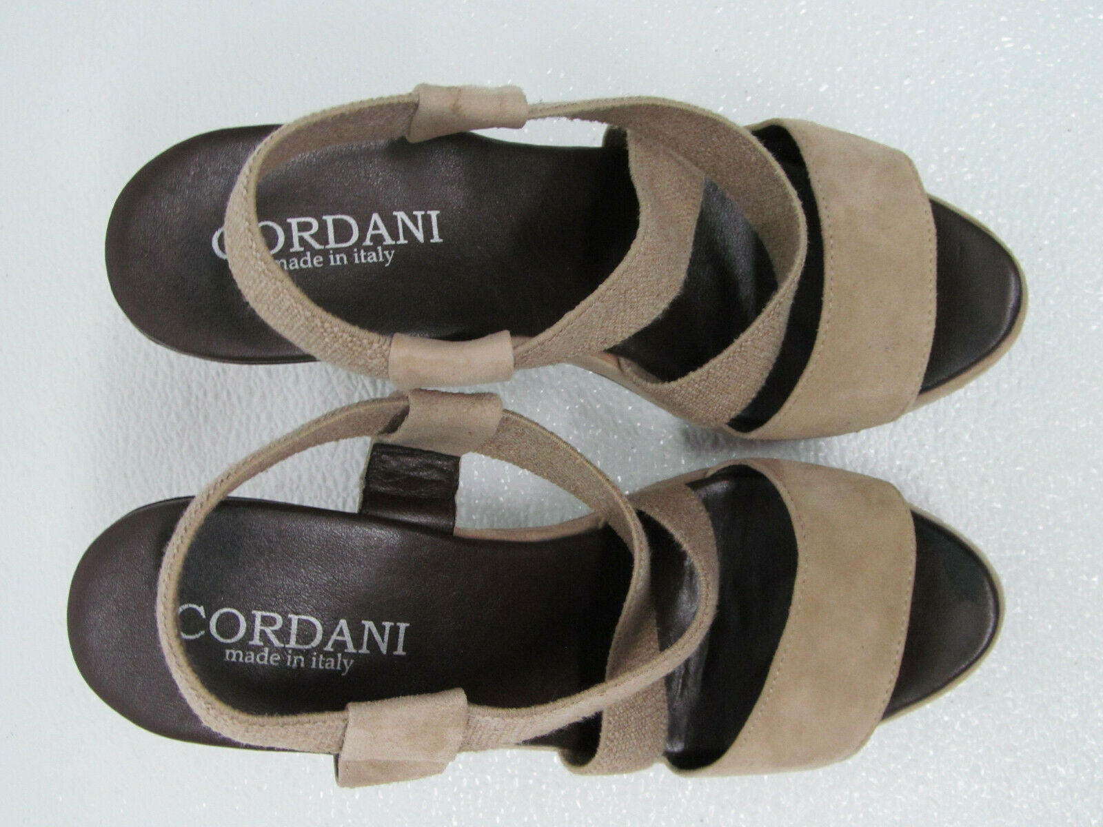 CORDANI MADE Größe IN ITALY CANVAS LEATHER SANDALS PLATFORM HEELS Größe MADE damen 8 39 192711