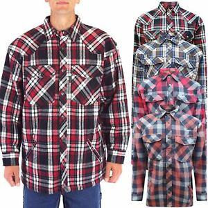 Franela-acolchada-para-hombre-Lumberjack-Vellon-Grueso-Forrado-Buffalo-chaqueta-camisa-M-6XL