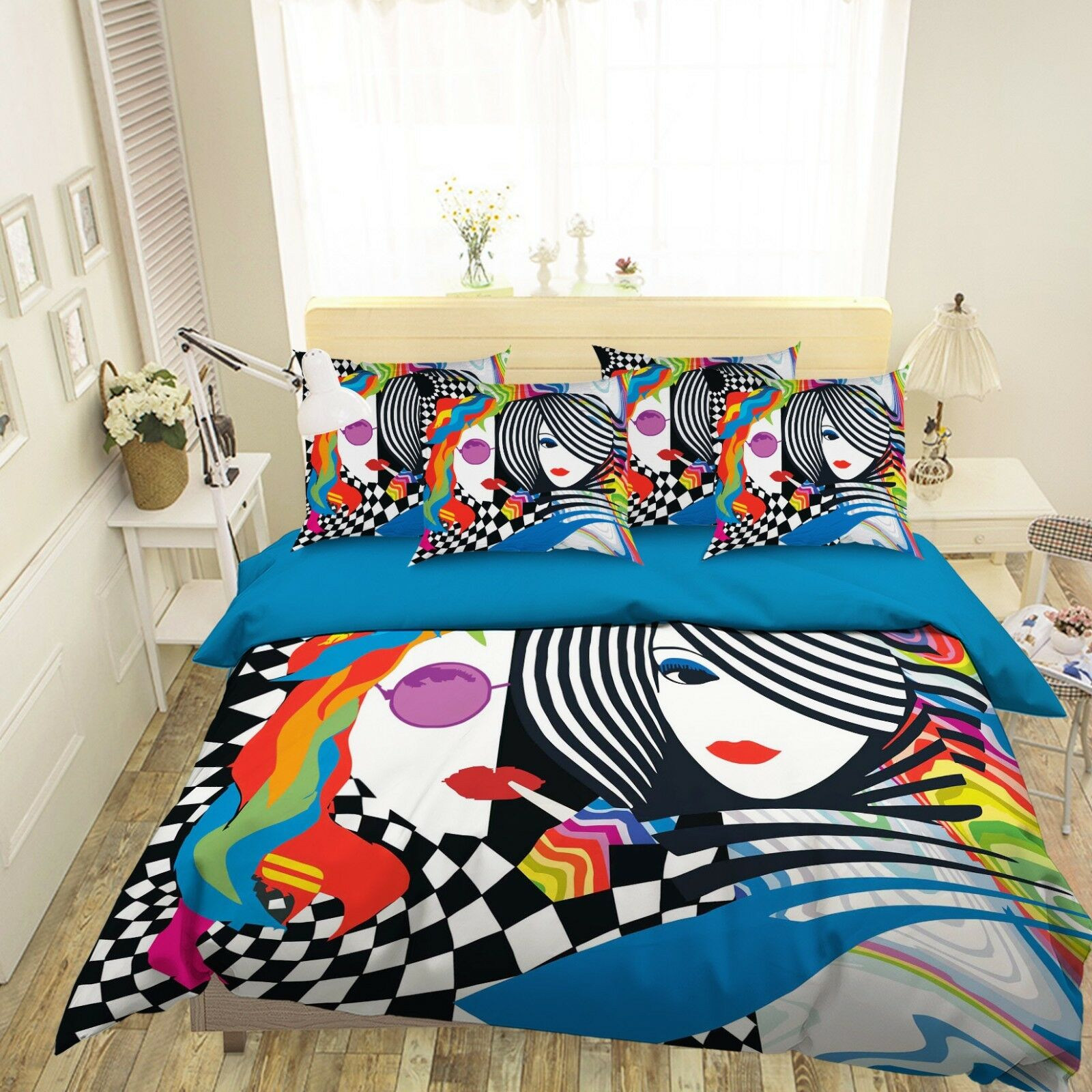 3D Paint Girl color 8 Bed Pillowcases Quilt Duvet Cover Set Single Queen King CA