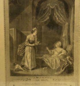 Antique French Le Bain The Bath 1774 Print Engraving Art Picture Victorian Paris