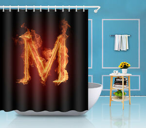 Fire Letter M Cool Home Mat Waterproof Fabric Set Shower Curtain Bathroom  YL3463