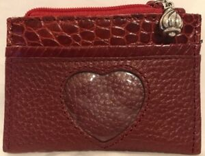 Adorable-Brighton-Red-Leather-Zip-Card-Coin-Case