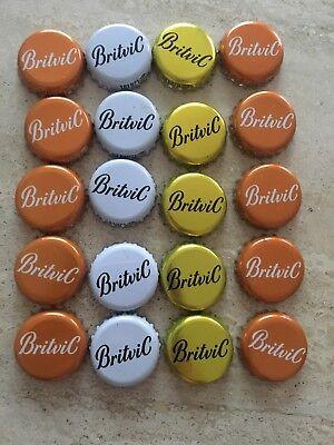 20 White Britvic Bottle Tops Crown Caps.