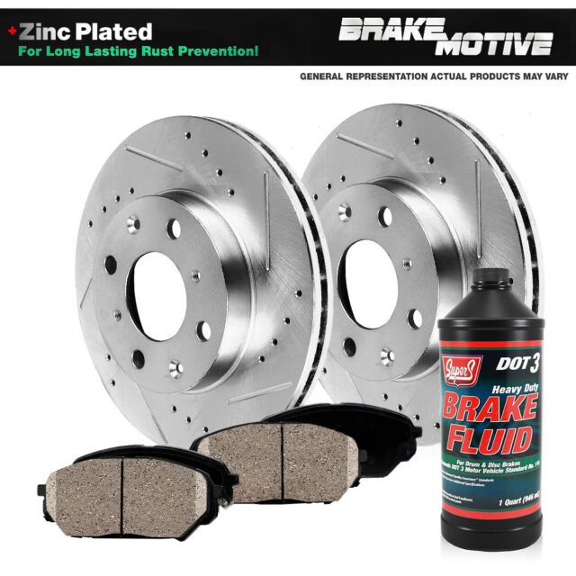 2009 Fit Lexus RX350 Slotted Drilled Rotor w//Ceramic Pads F+R