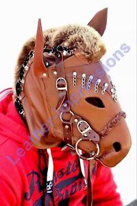 NEW-GENUINE-TAN-LEATHER-BONDAGE-HORSE-MASK-PONYPLAY-HOOD-FETISH-FREE-P-amp-P-UK