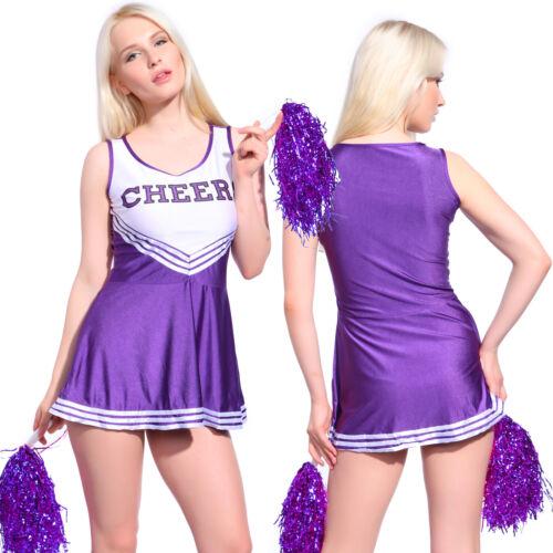 Lila Damen Cheerleader-Kostüm mit Pompons Mini-rock Karneval Cheerleading Kleid