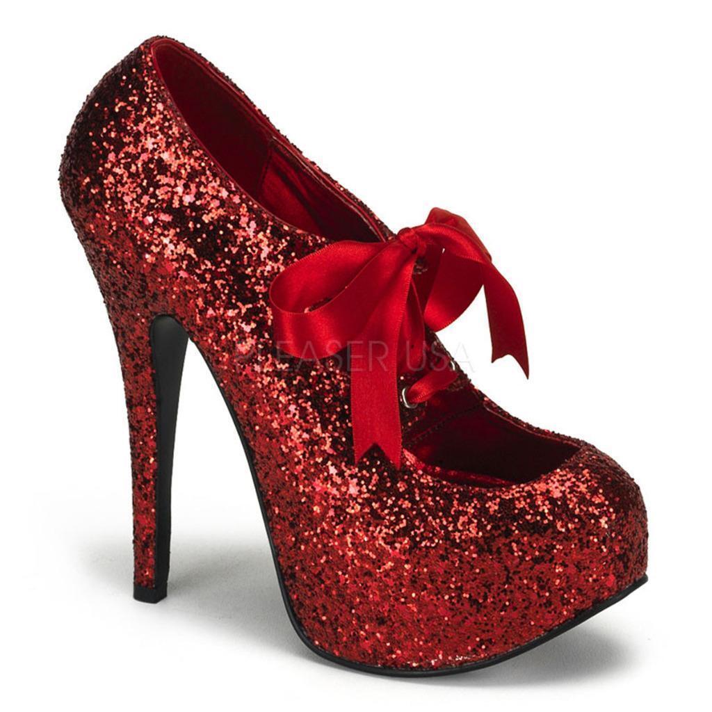 Bordello schuhe Teeze-10G ROT glitter platform stiletto heels pumps bow 6