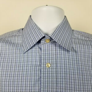 Peter-Millar-Mens-Blue-Black-Mini-Check-Dress-Button-Shirt-Size-15-R